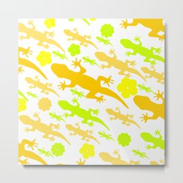 Lizards in yellow and green Metal Print