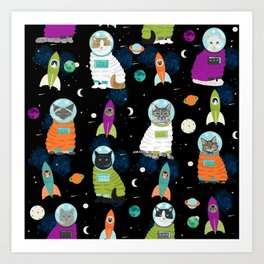 Space Cats pet portraits cute cat gifts cat lady outer space cadet rockets Art Print