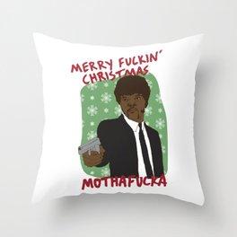 SAMUEL L JACKSON PULP FICTION JULES WINNFIELD MERRY CHRISTMAS Throw Pillow