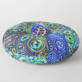 Brilliant Jeweled Peacock Floor Pillow