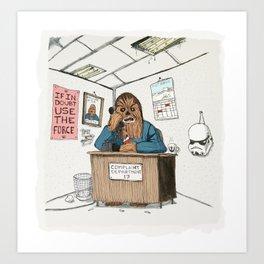 Chewwie at work Art Print