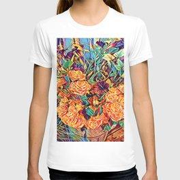 Red Orange Valentine Flowers T-shirt