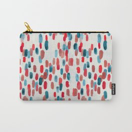 Watercolor Ovals - Red, Blue & Cream Carry-All Pouch