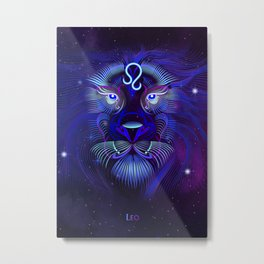 Zodiac neon signs — Leo Metal Print