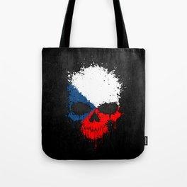 Flag of Czech Republic on a Chaotic Splatter Skull Tote Bag