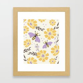 Honey Bees and Flowers - Yellow and Lavender Purple Framed Art Print