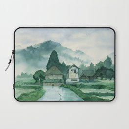 Japanese Village , After Rain ,  Art Watercolor Painting print by Suisai Genki  Laptop Sleeve