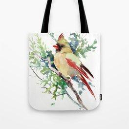 Cardinal Bird Artwork, female cardinal bird Tote Bag