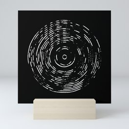 Record White on Black Mini Art Print