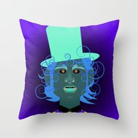 willy wonka Throw Pillows featuring Willy Wonka from Charlie and the chocolate factory, played by the great Gene Wilder by Joe Pugilist Design