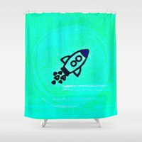 rocket Shower Curtains featuring Rocket by Mr and Mrs Quirynen