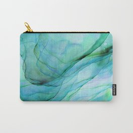 Sea Green Flowing Waves Abstract Ink Painting Carry-All Pouch