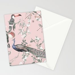 Oriental Peacock Pink Stationery Cards