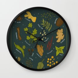 Desi Herbs and Spices Wall Clock