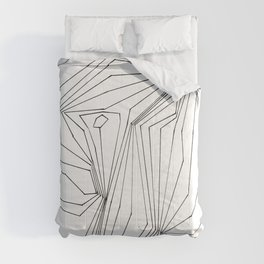 Confinement   Black Ink on White Geometric Drawing Comforters