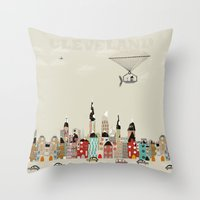 cleveland Throw Pillows featuring visit cleveland ohio by bri.buckley
