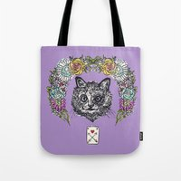 cheshire Tote Bags featuring Cheshire by minniemorrisart