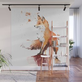 Drawing Fox on the Rock Wall Mural