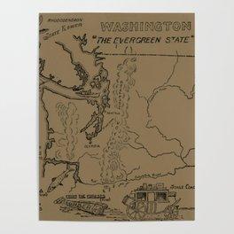 Vintage Map of Washington State (1912) - Tan Poster