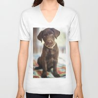 labrador V-neck T-shirts featuring Labrador Love by rusticedenphotography