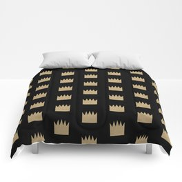 Gold Crowns - Modern pattern design featuring gold glitter crown elements Comforters