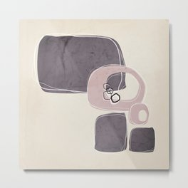 Retro Abstract Design in Shell Pink and Aubergine Metal Print