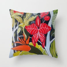Paradise Flowers Throw Pillow