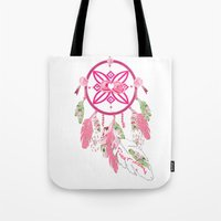 shabby chic Tote Bags featuring Shabby Chic Dream Catcher by KarenHarveyCox