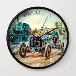 Vintage Cars Racing Scene,train painting Wall Clock
