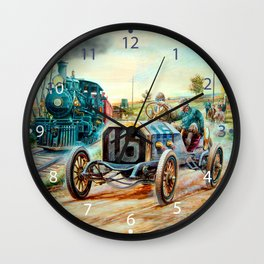 Vintage Cars Racing Scene,train painting Wall Clock