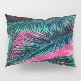 Tropical Summer Pink White Gradient Sky Teal green Palm Tree Leaves Pillow Sham
