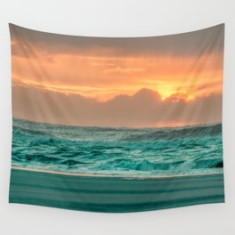 Turquoise Ocean Pink Sunset Wall Tapestry