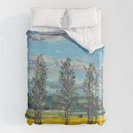Yellow fields of the Loire Valley, France Duvet Cover