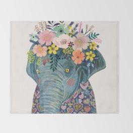 Elephant with flowers on head Throw Blanket
