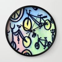 bikes Wall Clocks featuring Bikes by JustinPotts