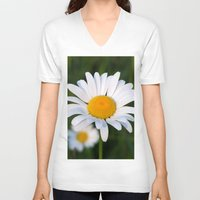 daisies V-neck T-shirts featuring Daisies by Rose Etiennette