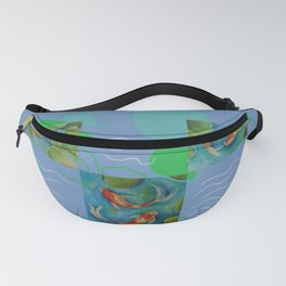 Koi Fish Pop Art collage with original paintings Fanny Pack