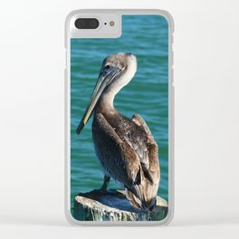 Pelican On A Pole Clear iPhone Case