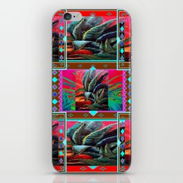 RED WESTERN DESERT AGAVE CACTUS PAINTING PATTERN ART iPhone Skin