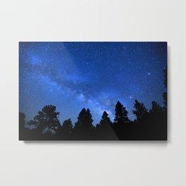 Milky Way (Black Trees Blue Space) Metal Print