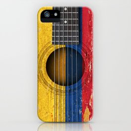 Old Vintage Acoustic Guitar with Colombian Flag iPhone Case