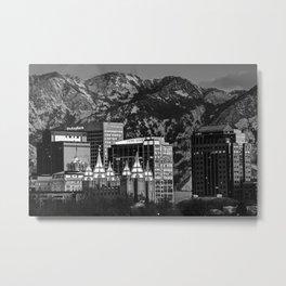 Salt Lake City Downtown Winter Skyline - Black and White Metal Print