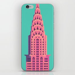 New York Art Deco Building Architecture - Green iPhone Skin