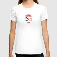 puerto rico T-shirts featuring Flag of Puerto Rico on a Chaotic Splatter Skull by Jeff Bartels