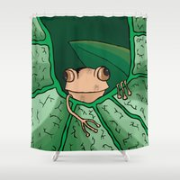 frog Shower Curtains featuring Frog by Kandus Johnson