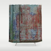 army Shower Curtains featuring Robot army by Ale Ibanez