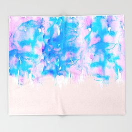 Girly Pastel Pink and Blue Watercolor Paint Drips Throw Blanket