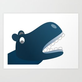 Funny Hippo Cartoon with Big Teeth Art Print