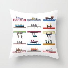 Cedar Point Coaster Cars Design Throw Pillow