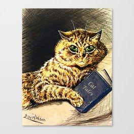 """Cat Tales"" Cat Reading Book - Louis Wain Canvas Print"